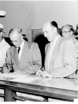 Harry Free County Clerk And Rodney Clarke Signing In As New Sheriff 1953